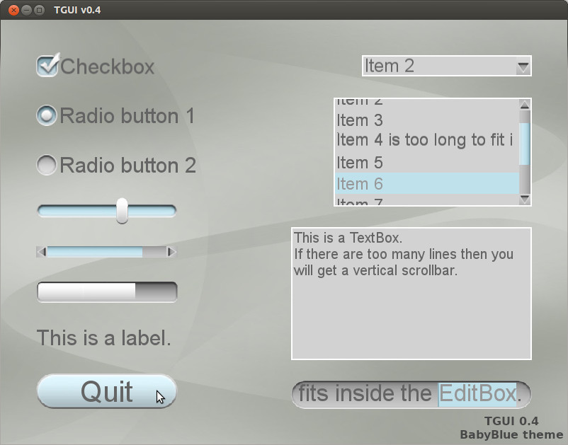 TGUI: Texus' Graphical User Interface