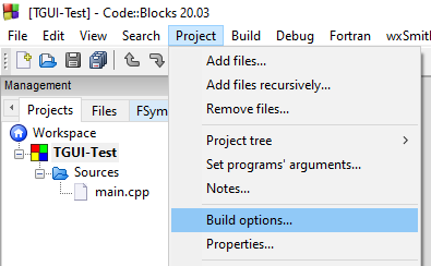 CodeBlocks Project Build Options
