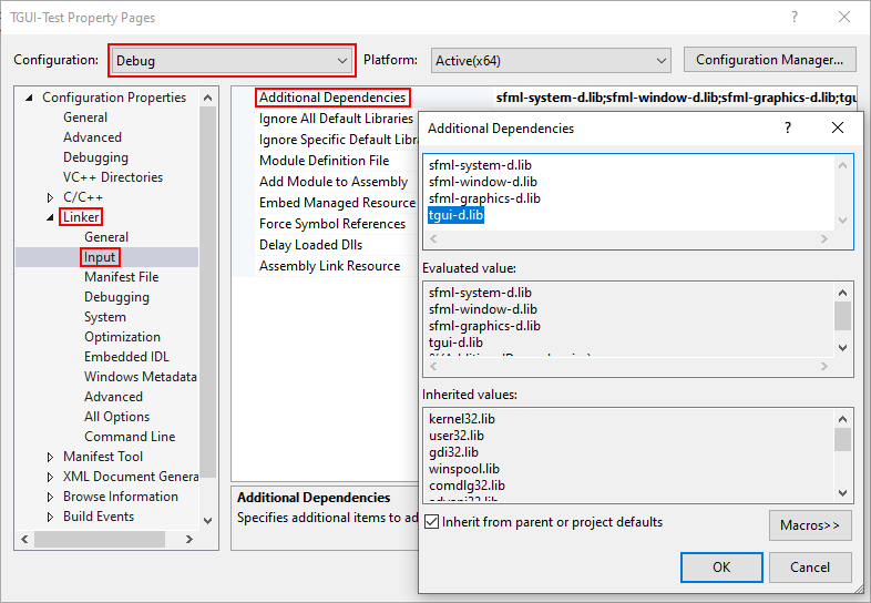 Visual Studio Additional Dependencies (Dynamic, Debug)