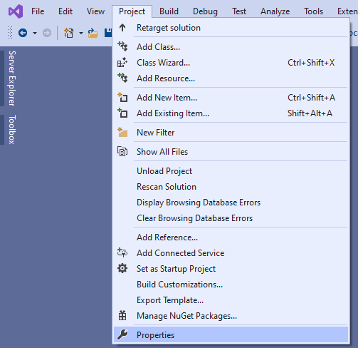 Visual Studio Project Properties