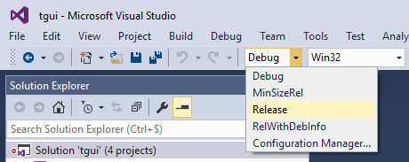Visual Studio Select Solution Configurations